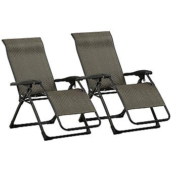 Outsunny Set of 2 Rattan Sun Lounger Zero Gravity Patio Deck Chairs Folding Recliner Indoor Outdoor Back Adjustable Chair Grey