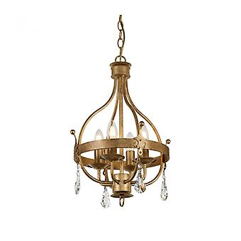 Lámpara Colgante Windsor, Pátina Dorada, Cristal, 4 Luces