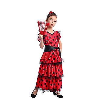 Spanish Flamenco Skirt Dancer Performance Costume