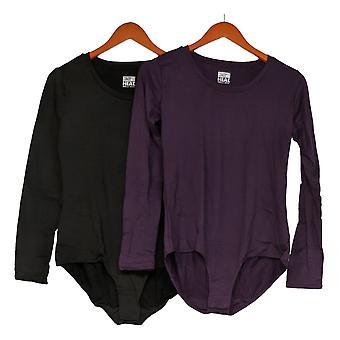 32 Degrees Long Sleeve Scoop Neck Bodysuit 2 Pack Black