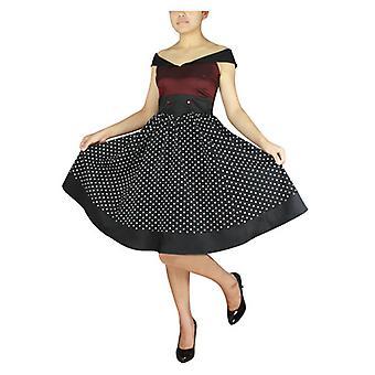 שיק כוכב פלוס גודל סיילור מעוצב שמלה בורגונדי / שחור