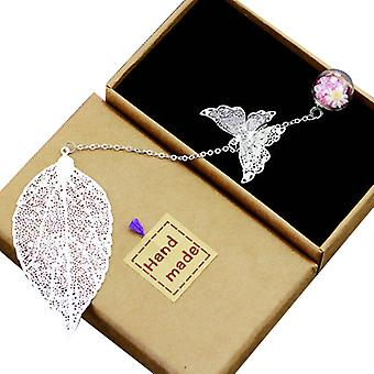 Metal Feather Bookmark,with 3d Butterfly And Glass Beads Dry Flower Pendant