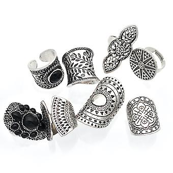 8pcs Retro Ring Set Bohemian Fashion Gem Incrusté Alloy Ring Pour une utilisation quotidienne