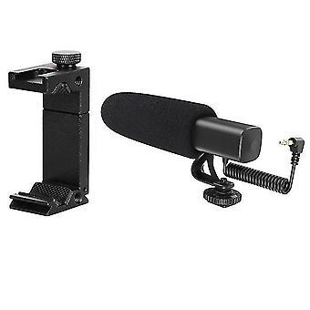 Kameramikrofon professionell fotografering intervjumikrofon med mobiltelefonklämma hållare varm sko adapterfäste