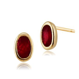 9ct Yellow Gold 0.57ct Ruby Single Stone Framed Stud Earrings