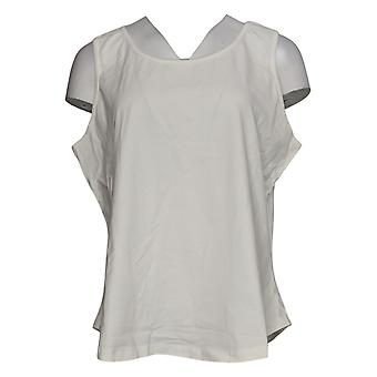 Denim & Co. Camicia svizzera a maniche lunghe Top Swiss Dot con serbatoio bianco A392957