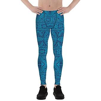 Mens Leggings - Blue Tribal Maori Tattoo Leggings