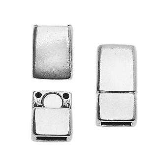 Magnetic Clasps, Rectangle 16.5x8mm, for 5mm Flat Regaliz Cord, 1 Set, Antiqued Silver