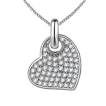 Besilver FP005W - Heart-shaped Pendant Necklace, in Sterling Silver 925, with Simulated Diamond