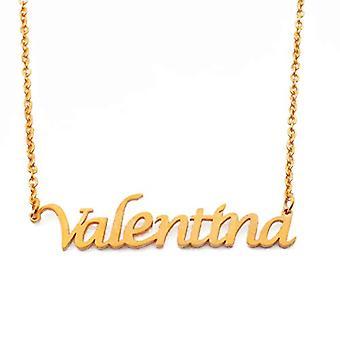 KL Valentina - 18 karan kullattu kaulakoru, mukautettu nimi, säädettävä pituus 16 - 19 cm