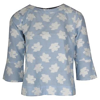 Just White Floral Applique Detail Bell Sleeve Top