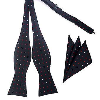 Vermelho preto e branco polca auto laço amarrado & bolso quadrado