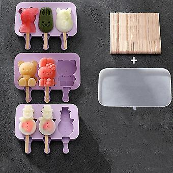 DIY Homemade Cute Cartoon Ice Cream Mold Silicone Reusable Popsicle Maker Mould