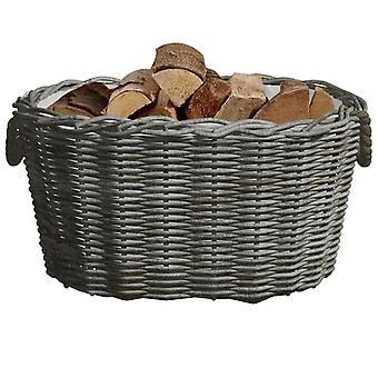 cestello in legno vidaXL con manico 60x40x28 cm salice grigio