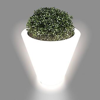 Flower pot white with LED lighting 50 cm high