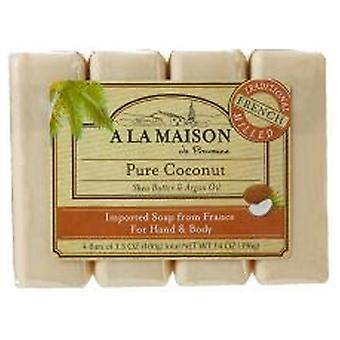 A La Maison Hand & Body Bar Soap, Coconut 4/3.5 Oz