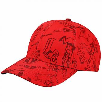 Deadpool Character Sketches All Over Adjustable Dad Hat