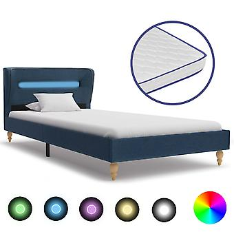 vidaXL bed with LED and memory foam mattress blue fabric 90x200 cm