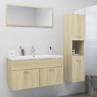 vidaXL Bagno Mobili Set Sonoma Oak Chipboard