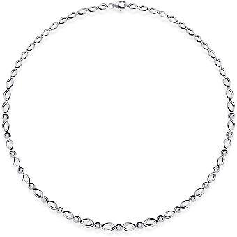 Gisser Jewels - Collier - Choker Oval Round Fantasy Link set avec Zircone - 6mm De Large - Longueur 45cm - Gerhodineerd Zilver 925