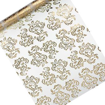 SISTE FÅ - 36cm x 9m reversibel gull eller sølv floral print tulle netto roll