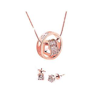 Duo Heart Charm Jewelry Set With Crystals From Swarovski - Rose 2 Pack