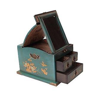 Fine Asianliving espejo tibetano joyería caja azul