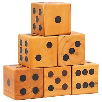 Giant Yard Dice Set 6 Pieces Solid Pinewood Yard Dices Wooden Game