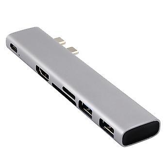 6 i 1 adapter för macbook - 2x USB 3.0; S.D.; MikroSD; USB-C; HDMI - silver