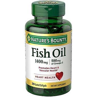 Naturens Bounty Fiskolja med Omega-3 belagda softgels, 1400 Mg, 39 Ct