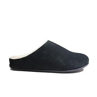 Fitflop Chrissie Shearling Black Suede Leather Womens Slip On Mule Slippers