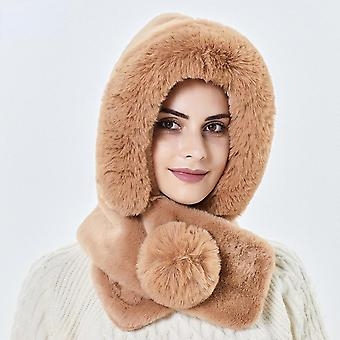 Khaki Hat Women Autumn And Winter Warm Plush Scarf All-in-one Hat Ear Protection Windproof Riding Cap