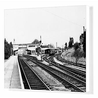 Kemble Station looking towards Stroud, c.1960s. Box Canvas Print. A view of Kemble station in.
