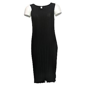 MarlaWynne Robe Sans Manches Plissé Tricot Noir 655546