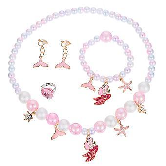 4pcs/set Kids Mermaid Bracelet Necklace Ring Dangler Colorful Beads Jewelries