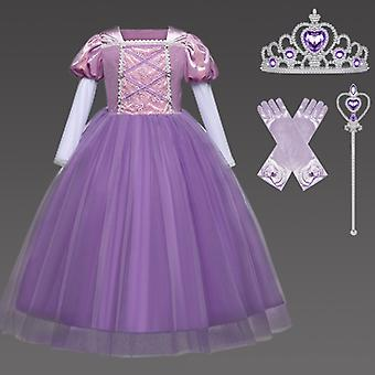 Rapunzel Princess Costume Kids Girls Deluxe Party Fancy Dress Up Carnival Cosplay Halloween Christmas Birthday Fairy