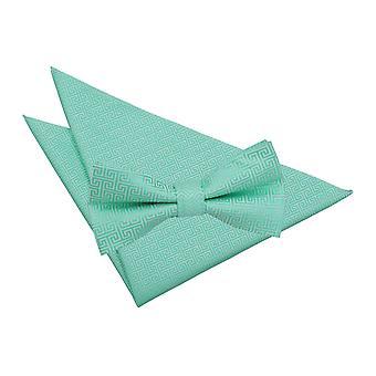 Mint Grün griechische zentrale Fliege & Einstecktuch Satz