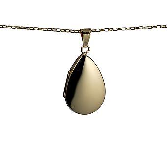9kt guld 30x20mm plain teardrop medaljon med en belcher kæde 24 inches