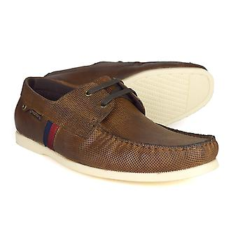 Red Tape Edward Mens Tan Leather Deck / Boat Shoes