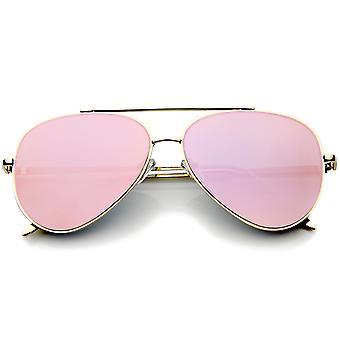 Mod mody łzy bez oprawek lustro płaskie soczewki metalowej ramie Aviator Okulary 58mm