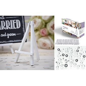 Easelia BLANC - 2010pcs Kit with 10 White Wooden Mini Table Easels 6 Inch + FREE 2000pcs Clear Wedding Table Scatter Diamond Crystals - for Wedding Place Menu Card Board Holders and Craft Projects.