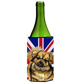 Tibetan Spaniel with English Union Jack British Flag Wine Bottle Beverage Insula