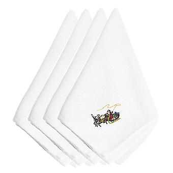 Christmas Santa Claus and Seigh Embroidered Napkins Set of 4