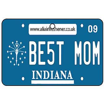 Indiana - Best Mom License Plate Car Air Freshener