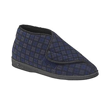 Comfylux Mens James Check Boot Slippers
