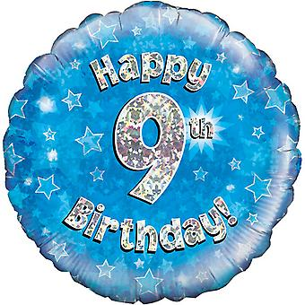 Oaktree 18 Inch Happy 9th Birthday Blue Holographic Balloon
