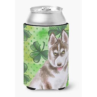 Siberian Husky Grey St Patrick's Can or Bottle Hugger