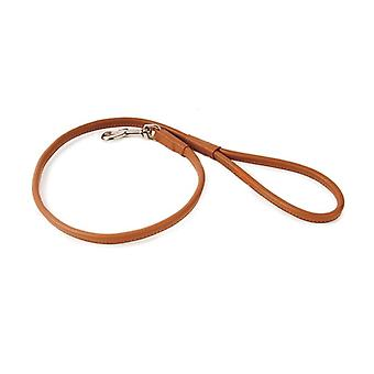Dapper Dogs Handcrafted Round Leather Dog Lead pour chiot / chien - 90cm x 8mm, Tan