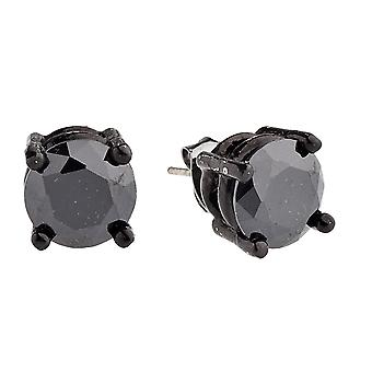 Iced out bling round cubic zirconia Stud Earrings - black
