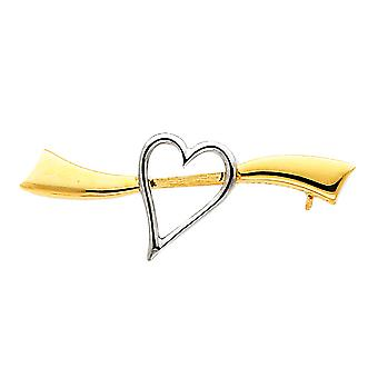 Heart Brooch in Rhodium and 14K Yellow Gold